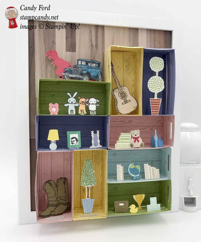 Create a wall of shelves with the Wood Crate Framelits by Stampin' Up! This one is for a baby or kid room, with toys as well as some of the parents' stuff. #stampcandy