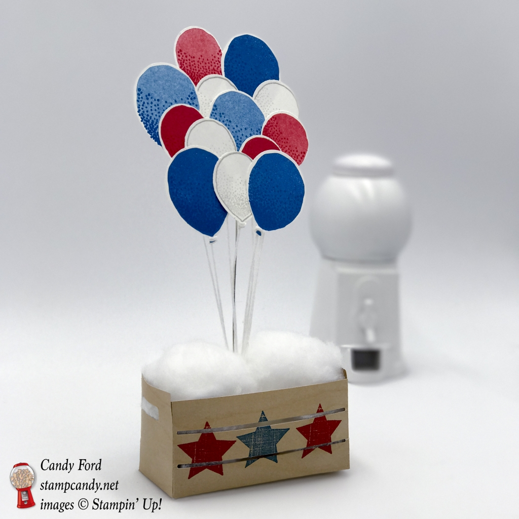Happy 4th of July! Make this patriotic crate with the Wood Words stamp set, Wood Crates Framelits Dies, Wood Textures DSP, Balloon Celebration stamp set, and Balloon Bouquet Punch by Stampin' Up! #stampcandy