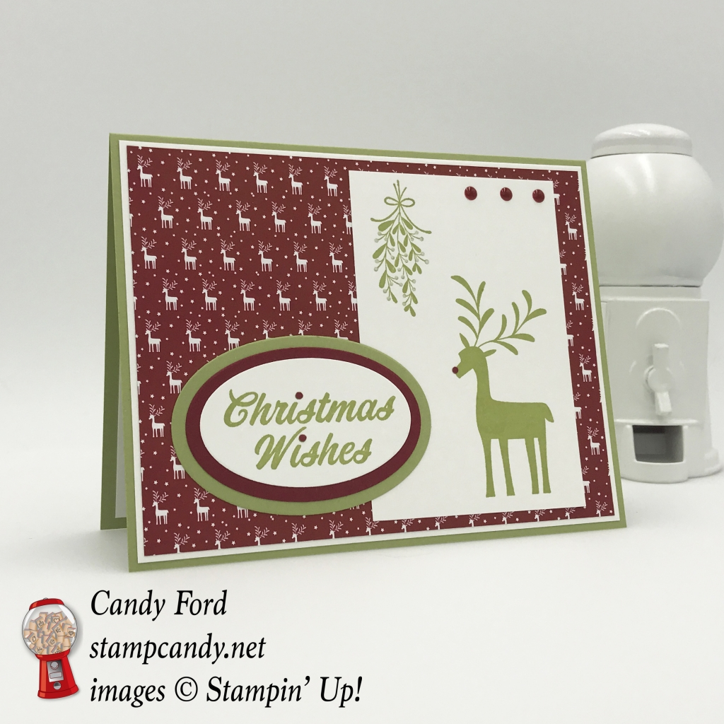 Merry Mistletoe stamp set and Be Merry DSP combine to make this quick and easy Christmas card. Stampin' Up! #stampcandy