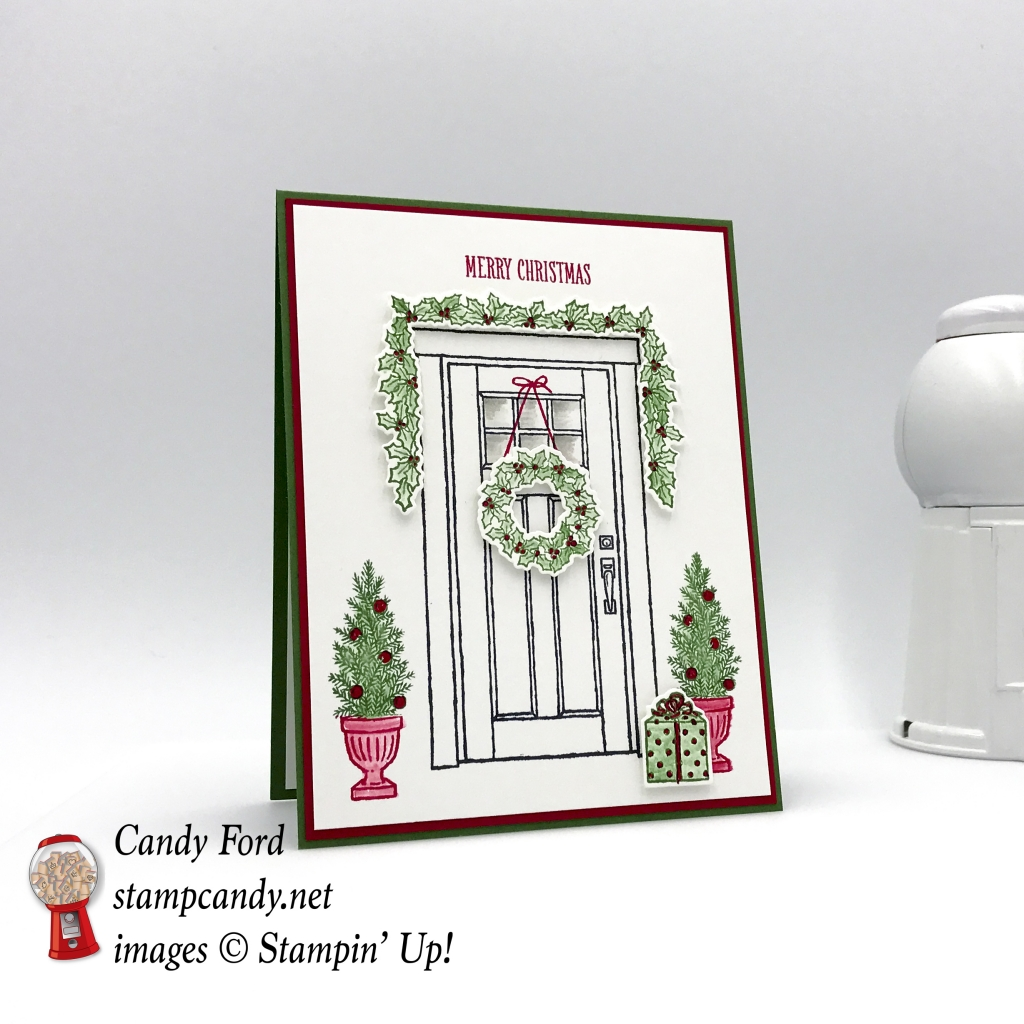 Merry Christmas card made with the At Home With You Bundle by Stampin' Up! for InKing Royalty Blog Hop Christmas in July 2017 #stampcandy