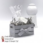 """What a sweet little welcome basket made with the Wood Words bundle stamp set, Wood Crate Framelits, 3x6 Gusseted Cellophane Bag, and Smoky Slate 1/2"""" Gingham Ribbon by Stampin"""
