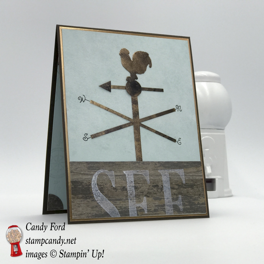 Weather Vane on a Barn Roof, card, See Rock City, Wood Crate Framelits Dies, Wood Textures Designer Series Paper DSP, Copper Foil Sheet by Stampin' Up! #stampccandy