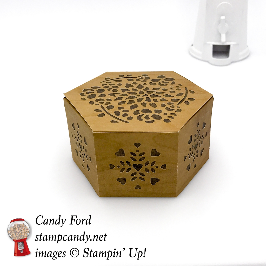 Check out this lovely box. It looks like inlaid wood, but it was made with the Window Box Dies and Wood Textures Designer Series Paper DSP by Stampin' Up! #stampcandy