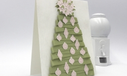 Make this ribbon tree card using the new Carols of Christmas bundle and Pear Pizzazz Shimmer Ribbon by Stampin' Up! #stampcandy