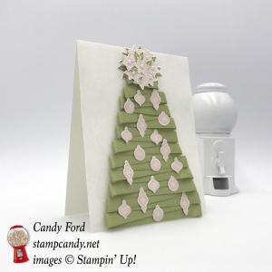 Make this ribbon tree card using the new Carols of Christmas bundle and Pear Pizzazz Shimmer Ribbon by Stampin