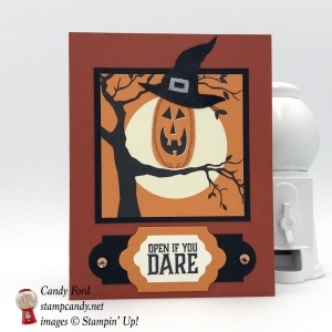 Adorable Halloween card or invitation made using the Graveyard Gate stamp set, Patterned Pumpkins thinlits, Lots of Labels framelits, Spooky Night DSP, Spooky Cat stamp set, by Stampin' Up! #stampcandy