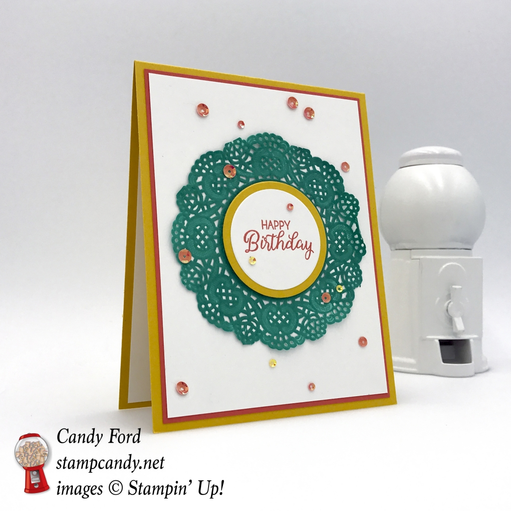 Beautiful Bouquet stamp set, Delicate White Doilies, Iridescent Sequin Assortment, by Stampin' Up! stampinup stampin up su #stampcandy