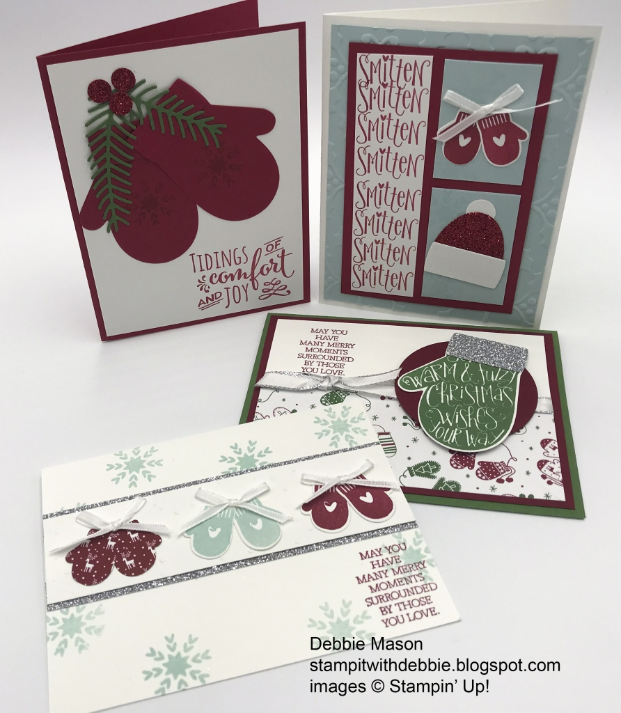 Rising Star swaps by Debbie Mason, Smitten Mittens bundle by Stampin' Up!