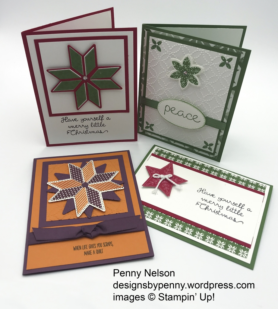 Rising Star swaps by Penny Nelson, Christmas Quilt bundle by Stampin' Up!