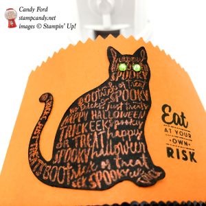 Spooky Kitty Hallowwen Treat Bag made with Stampin' Up! Spooky Cat and Graveyard Gate stamp sets and the Stampin' Up! Cat Punch by Stamp Candy