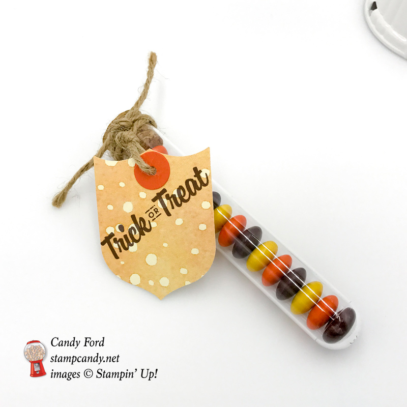 Stampin' Up! Treat Tube filled with candy make a great Halloween gift. This one is decorated with the Best Badge punch and Painted Autumn DSP by Stamp Candy