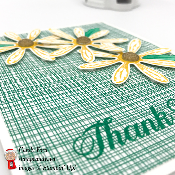Hand Stamped Thank you card made using Stampin' Up! Daisy Delight stamp set and gold faceted gems by Stamp Candy