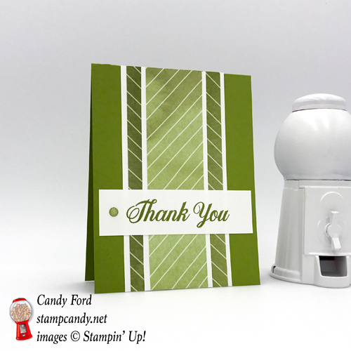 Simple Thank You Card in Old Olive green featuring a sentiment with Stampin' Up! Daisy Delight stamp set and Delightful Daisy DSP made by #StampCandy