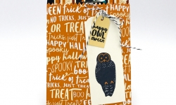 Happy Owl-oween with this Halloween Mini Treat Bag made using the Spooky Cat stamp set, Mini Treat Bag Thinlits Dies, Spooky Night DSP by Stampin' Up! #stampcandy