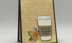 Autumn swap card made using the Merry Cafe stamp set, Coffee Cafe Bundle, Vintage Leaves stamp set, Leaflets Framelits Dies, and Painted Autumn DSP by Stampin' Up! #stampcandy