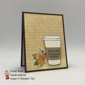 Autumn swap card made using the Merry Cafe stamp set, Coffee Cafe Bundle, Vintage Leaves stamp set, Leaflets Framelits Dies, and Painted Autumn DSP by Stampin