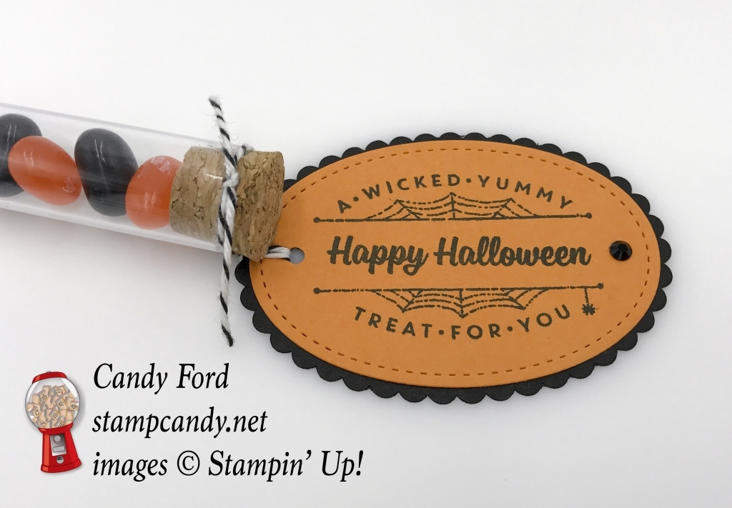Quick and easy treat made with Spooky Cat stamp set, Layering Ovals Framelits Dies, Stitched Shapes Framelits Dies, Black Rhinestone Jewels, and Treat Tubes by Stampin' Up! #stampcandy