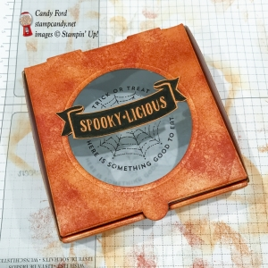 Spookylicious Mini Pizza Box made using The Little Things stamp set, stitched Shapes Framelits Dies, Window Sheets, and Stampin' Sponges by Stampin' Up! #stampcandy Halloween treats, jelly beans