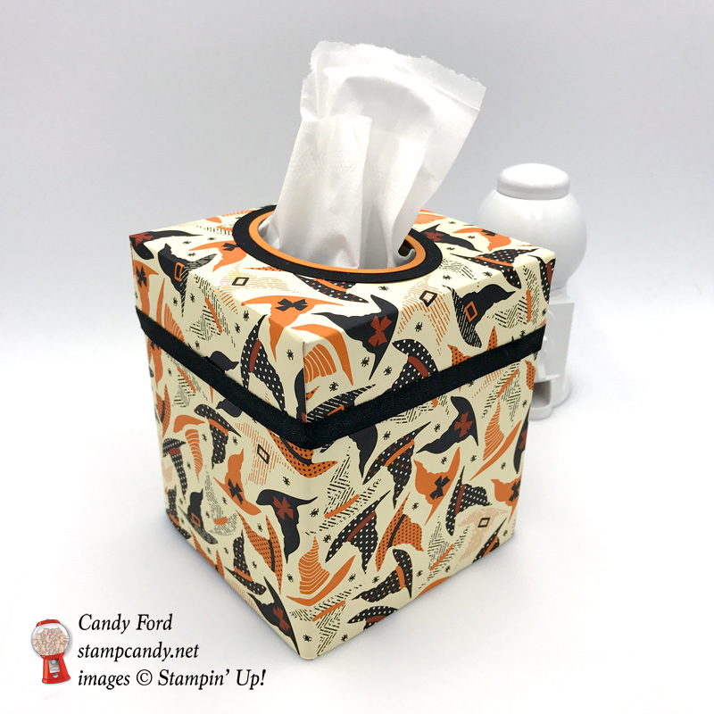 Festive Halloween Tissue Box cover made using Stampin' Up! Spooky Night Designer Series Paper by Stamp Candy