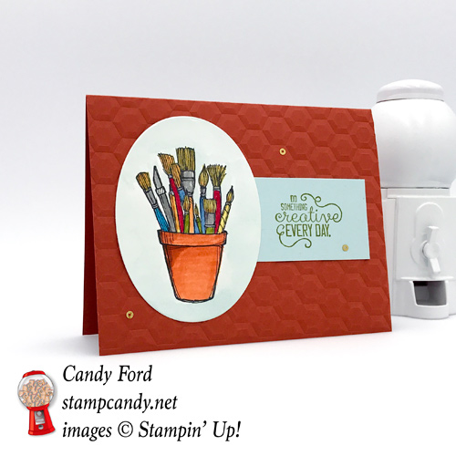 Enourage someone to do something creative everyday with thsi adorable card made by Stamp Candy with the Stampin' Up! Crafting Forever stamp set