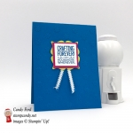 This adorable card says Crafting Forever, Housework Whenever on a simple card made by Stamp Candy using Stampin