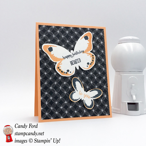 Fun Blutterfly Belated Birthday card made using Happy Birthday Gorgeous by Stampin' Up! made by Stamp Candy