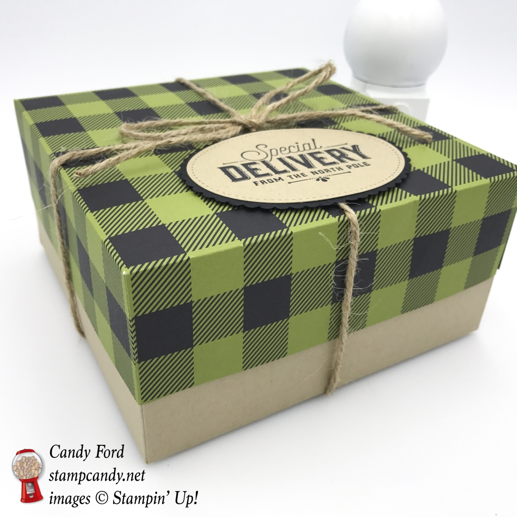 special delivery plaid box Merry Little Christmas DSP Merry Little Labels stamp set Jute Twine Stampin' Up! #stampcandy