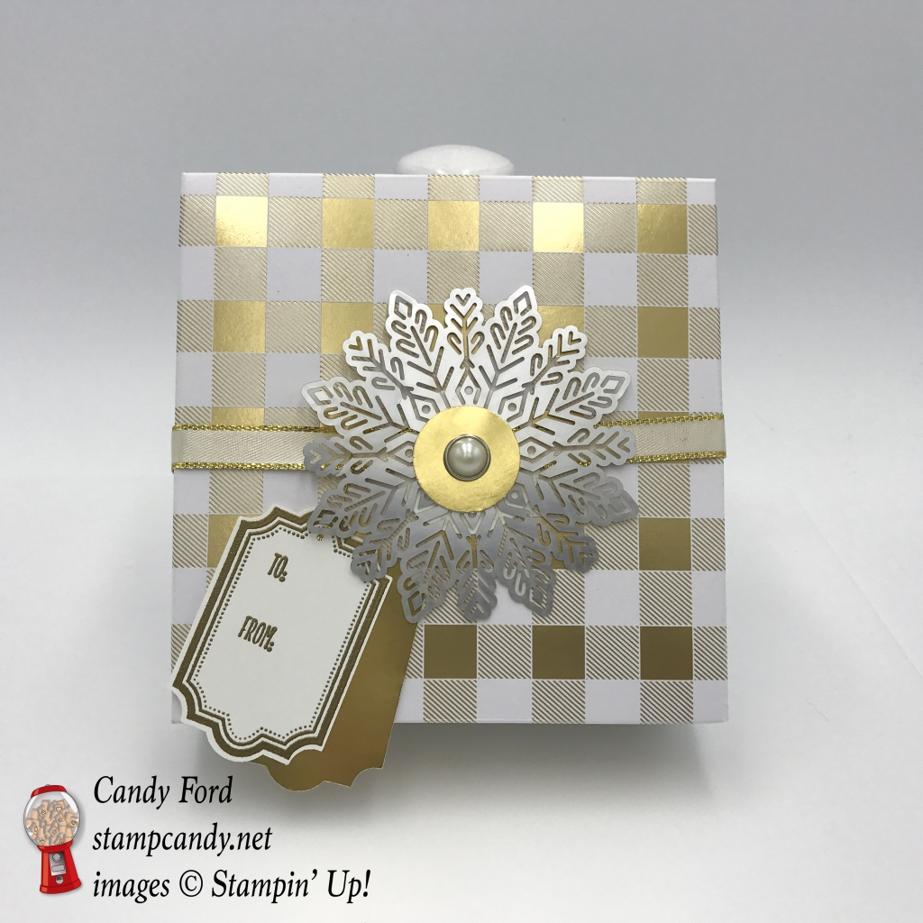 Year of Cheer DSP Foil Snowflakes labels to Love stamp set everyday label punch stampin up stamp candy gift box
