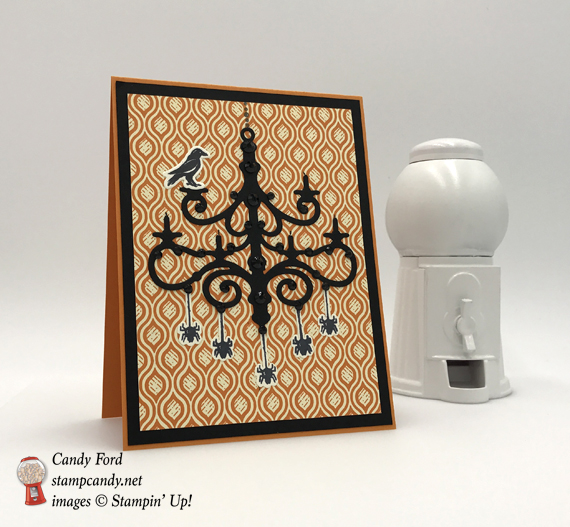Tis the Season to Sparkle and Spook with this spooky halloween chandelier with a raven by Stamp Candy of Stampin' Up!