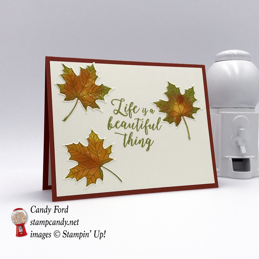 stampin up colorful seasons fall leaf card autumn leaves life is a beautiful thing stamp candy candy ford handmade card