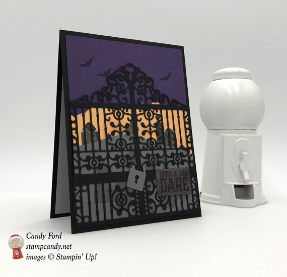 Handmade halloween card using Stampin' Up! Graveyard Gate die by Stamp Candy