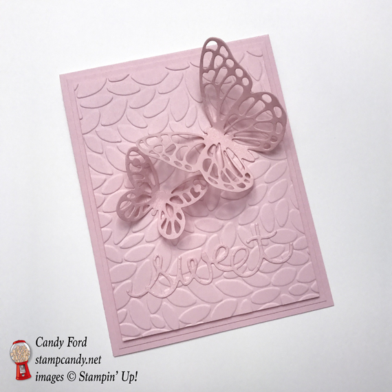 Powder pink monochrome butterfly thinklit handmade stampin up card on petals TIEF