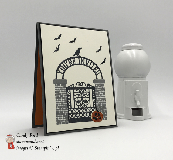 You're Invited halloween party invitation using Stampin' Up! Graveyard Gate bundle by Stamp Candy