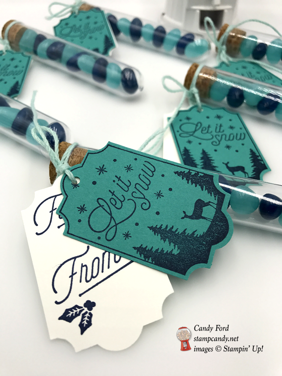 Let it snow tag treat tubs stampin up merry little labels by candy ford of stamp candy