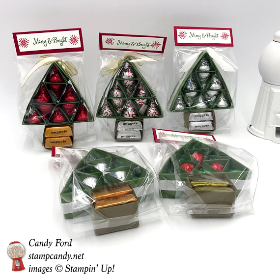 Stampin' Up! Season to Sparkle Hershey kiss and nugget tree gift by Candy Ford of Stamp Candy