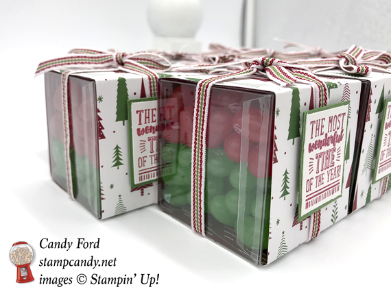 Stampin' Up! Brightly Lit Christmas stamp set and Be Merry DSP over clear tiny acetate boxes filled with jelly belly jelly beans by Candy Ford of Stamp Candy