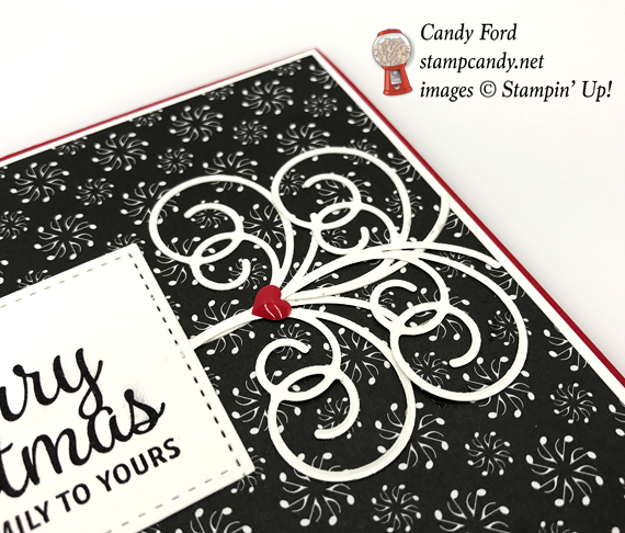 Stampin' Up! Merry Little Christmas with Swirly Snowflakes Christmas card by Stamp Candy