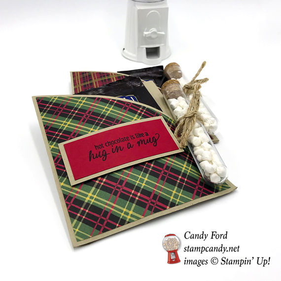 Stampin' Up! Hug in a Mug Christmas Around the World DSP Hot Chocolate Packet with Treat Tubes by Candy Ford of Stamp Candy