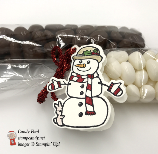 Seasonal Chums Snowman and Reindeer candy bag tags by Stampin' Up! Candy Ford of Stamp Candy