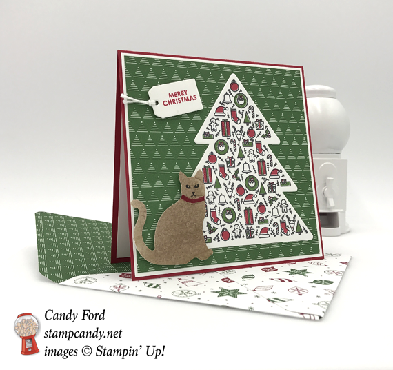 Stampin' Up! Iconic Christmas Tree card with Cat Punch and Be Merry DSP by Stamp Candy