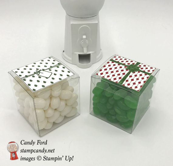 Stamin' Up! acetate boxes with Christmas DSP and Jelly beans by candy Ford of Stamp Candy