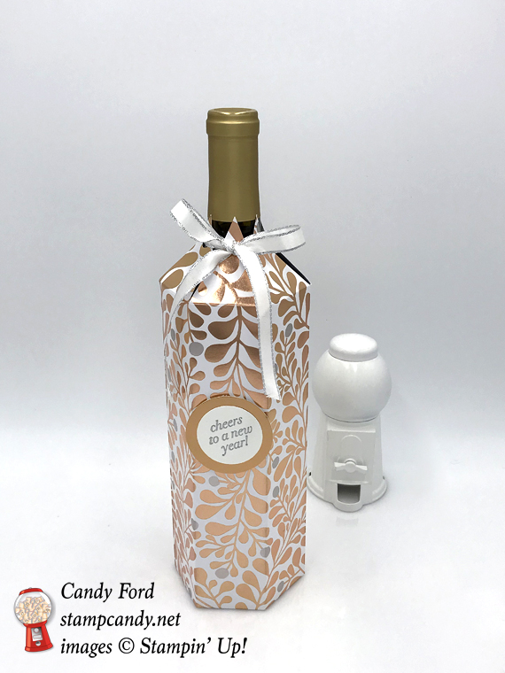 stampin up cheers to the years dsp holiday gift wine bottle cover by candy ford of stamp candy