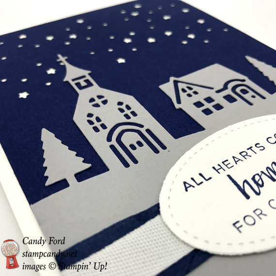 Stampin' Up! Hearts Come Home stamp sets paired with the Hometown Greetings Edgelit dies Starry Night Christmas card by Stamp Candy