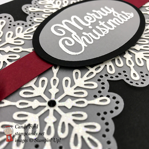 Stampin' Up! Merry Christmas Snowflake Sentiments with Swirly Snowflakes in black and red Christmas card by Candy Ford of Stamp Candy