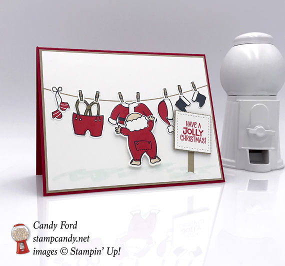 Stampin' Up! Santa's Suit handmade Christmas card made by candy ford of stamp candy