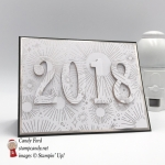 Happy New Year card made with Year of Cheer DSP, Large Letters Framelits Dies, and Teeny Tiny Wishes stamp set by Stampin