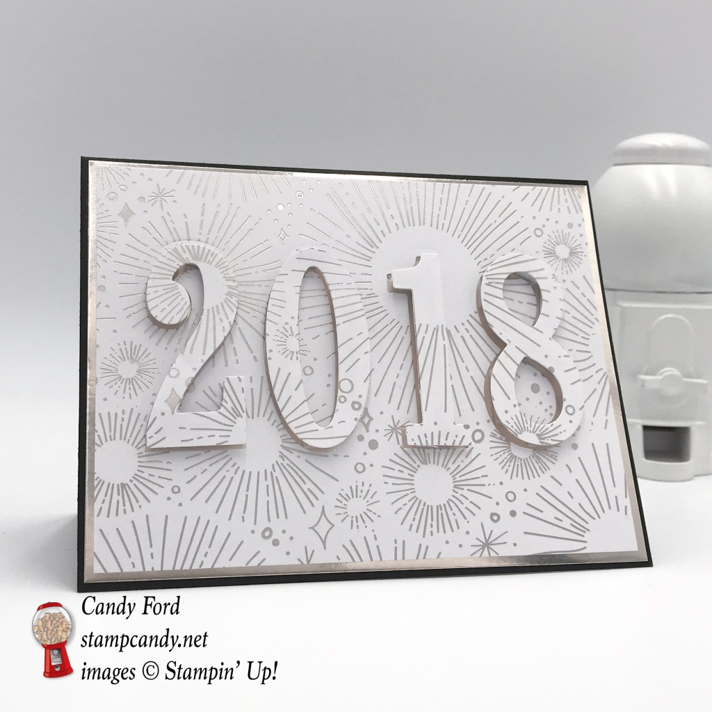 Happy New Year card made with Year of Cheer DSP, Large Letters Framelits Dies, and Teeny Tiny Wishes stamp set by Stampin' Up! #stampcandy