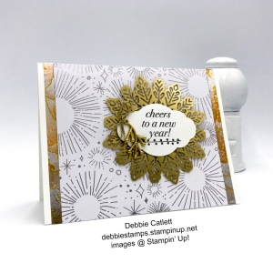 Debbie Catlett New Year card, Year of Cheer, Cheers to the Year, Foil Snowflakes, embellishments, heat emboss, Stampin