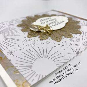 Debbie Catlett New Year card, Year of Cheer, Cheers to the Year, Foil Snowflakes, embellishments, heat emboss, Stampin' Up!
