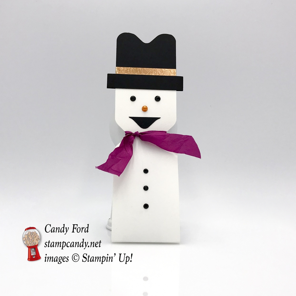 Snowman small Hershey Bar cover, Christmas Gift, Envelope Punch Board by Stampin' Up! #stampcandy